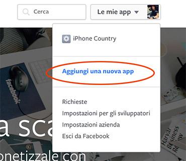 Aggiungi App Facebook
