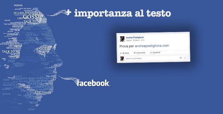 Testo gigante su Facebook