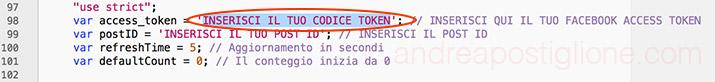 Codice Token nel file