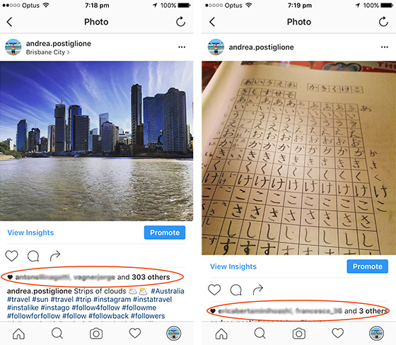 Differenza tra hashtag su Instagram