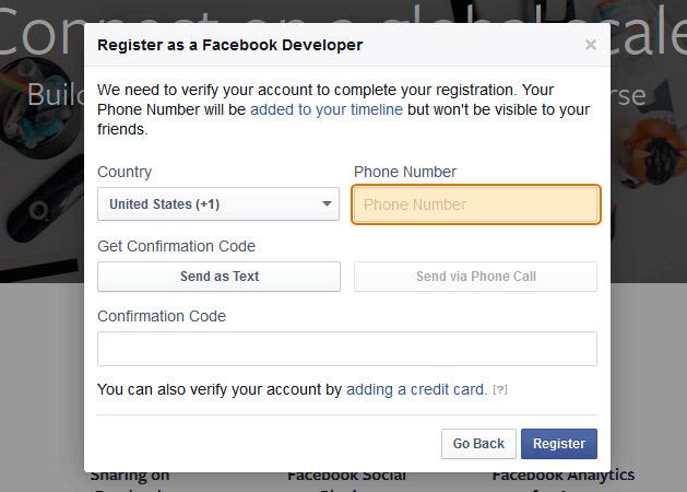 Registrazione Sviluppatori Facebook