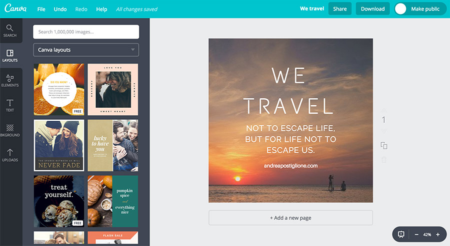 Canva per modificare foto Instagram