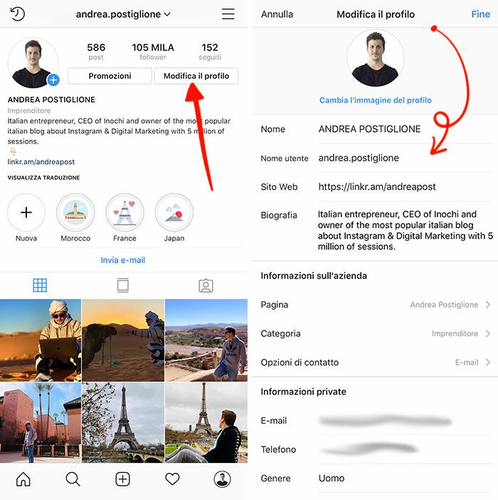 Modifica profilo Instagram