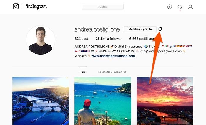 Impostazioni di Instagram da browser