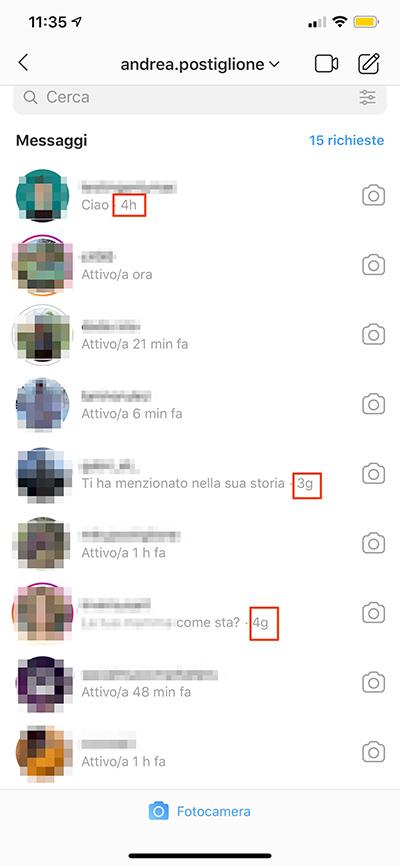 Ordine dei messaggi di Instagram