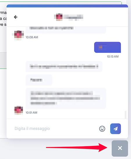 Chat compatta dei direct su Ninchi