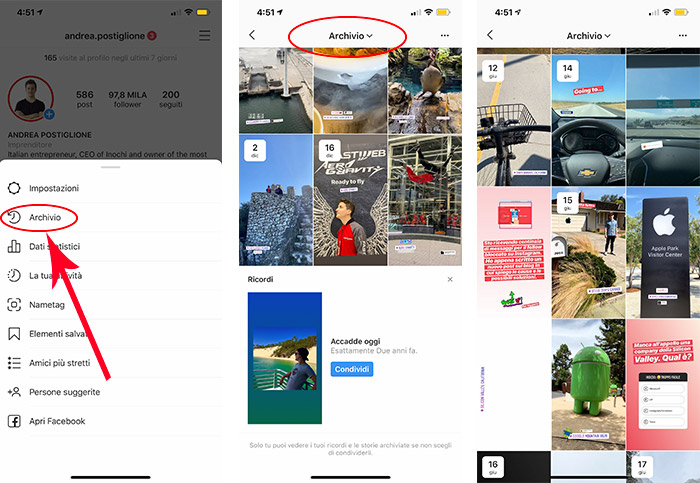 Archivio delle Storie Instagram