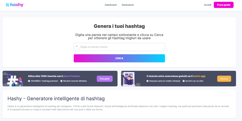 Hashy per generare hashtag