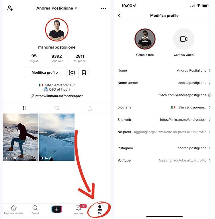 Modifica profilo su TikTok