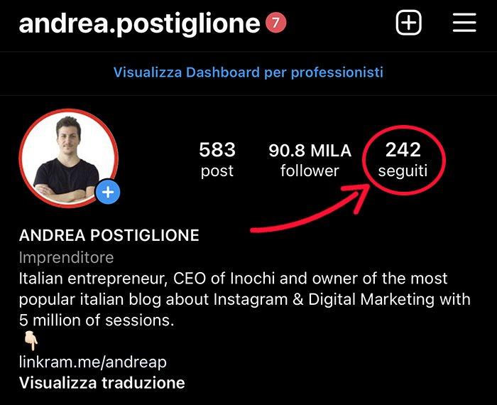 Profili seguiti su Instagram