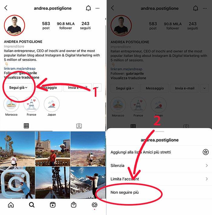 Smettere di seguire su Instagram