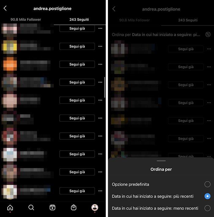 Unfollow veloce manuale su Instagram