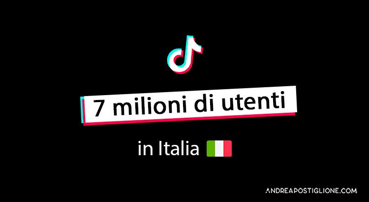 Utenti attivi di TikTok in Italia